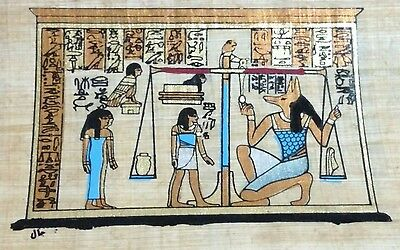 Original Egyptian Papyrus, Anubis Proctor of Tombs, Handmade Painting 12x16 Cm