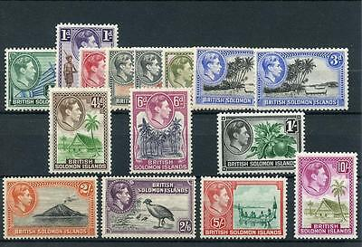 British Solomon Islands 1939-51 set + perfs SG60/72 MM - see desc