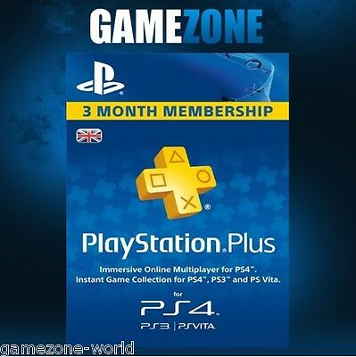 Playstation Plus 90 Days UK Card - PSN PS Store 3 Month Code - SONY 90 Days Key
