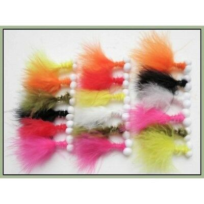 Booby Fishing flies, 18 Pack, Mixed Colours, Size 10, For Fly Fishing