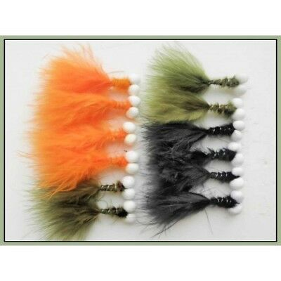 Booby Trout Fishing Flies, 12 Pack, Orange, Olive & Black, size 10, Fly Fishing