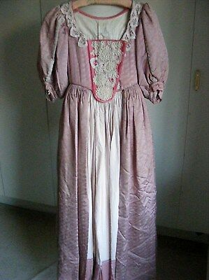 Vintage theatrical costume dress Georgian Period overdress & skirt dusky pink S