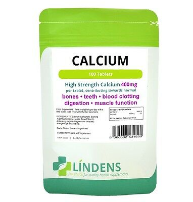 Lindens Calcium Carbonate Supplement 100 Comprimés 400mg Qualité alimentaire