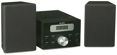 Alba LCD Micro System with FM and AUX - Black + 90 Days WARRANTY
