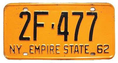 New York 1962 License Plate, 2F-477, Plattsburgh NY, Clinton County