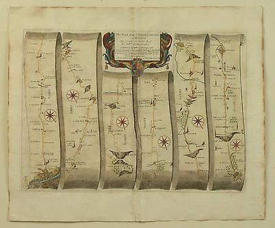 ORIGINAL Ogilby Road Map - London to Arundel and Chichester Sussex - Antique