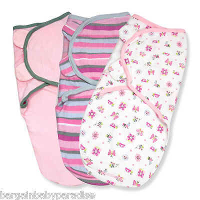 SUMMER INFANT 3-Pack SwaddleMe - Girly Bug - Pink Prints 7-14 Lb Small/Med NEW
