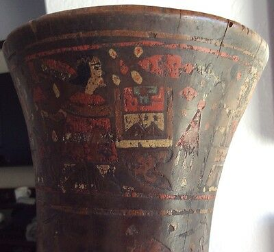 INCA KERO Painted Wood Beer Mug . Pre-columbian National Auction Provence