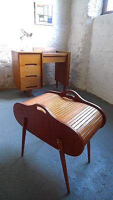 Vintage Sewing Box / Craft / Hobby Storage Tambour Roll-top Mid-century 50s 60s