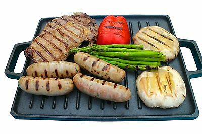 Cast Iron Reversible Griddle Pan Plate Large Hot Induction Cooking with handles