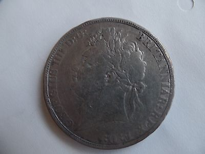 King George IV Silver  Crown 1821 Secundo edge