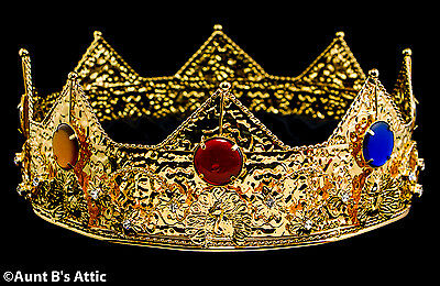 Crown Gold Metal Jeweled Kings Renaissance Theatrical Costume Crown