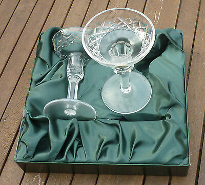 Tyrone Lead Crystal Pair of Goblet Wine Glass New in Lined Presentation Box