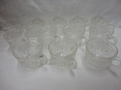 12 L E Smith Glass Clear Pinwheel & Star Slewed Horseshoe 5 ounce Punch Cup W7