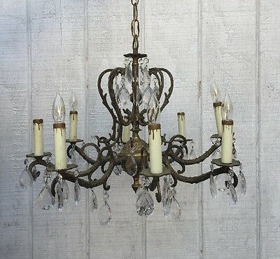 vintage Antique Shabby French Brass Crystal Chandelier 8 Lights 21""