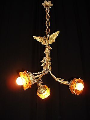 Antique French bronze Eagle Empire style chandelier shades