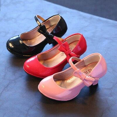 New Fall Cute Children Girls Dress Shoes Kids Princess High-heeled shoe Size 9-3