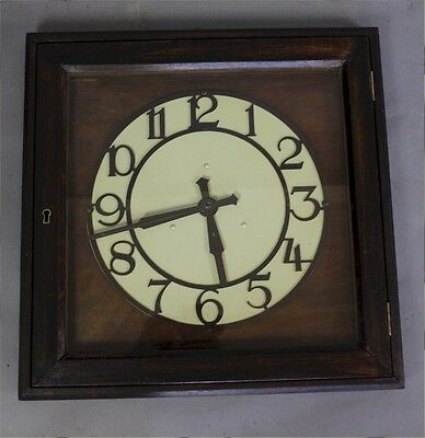 Smiths 1920's Office clock in mahogany stained frame