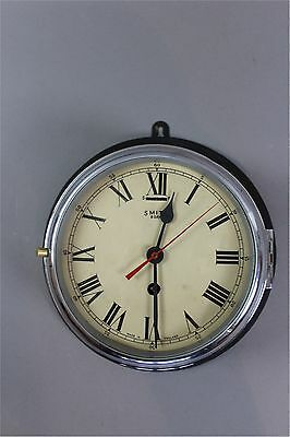 Ships clock by Smiths 8 day black and chrome