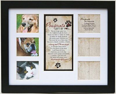 """Pet Memorial Collage Frame for Dog or Cat with Sympathy """"Pawprints Left by You"""""""
