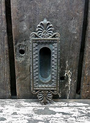 VTG Old Fancy Cast BRASS Window Sash Lift Door Pocket Pull Backplate Handle *