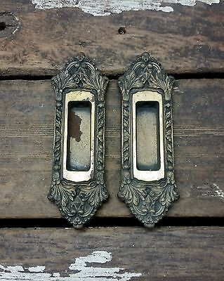 2 VTG Old Fancy Rustic Cast Iron Small Door Window Pocket Pull Backplate Handle