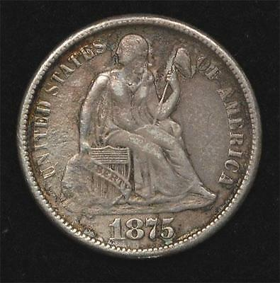 1875-CC Liberty Seated Dime, XF, mint mark above bow