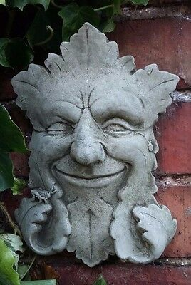 Stone Garden Winking Green Man Face Wall Plaque Hanging