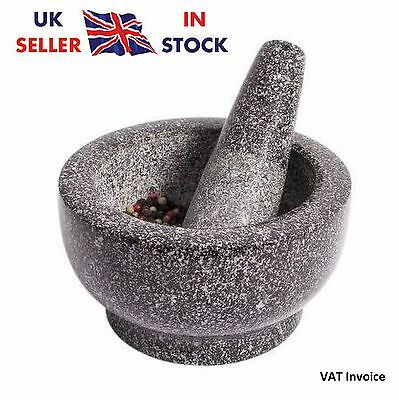 Luxury Granite Kitchen Herbs Spice Mortar Crusher With Pestle Dish 13 x 8 cm