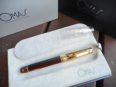Omas Arco Brown Celluloid Gt Vermeil Cap Rollerball Hard To Find