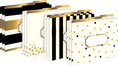Gold Fashion File Folders Office Letter Tab Desk White Black Style Design 12 NEW