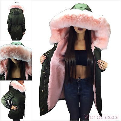 Parka Damen Winter Jacke Xxl Kunstfell Rosa Kapuze Mantel Fashion Jacket Blogger