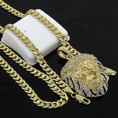 """Mens Gold Plated Hip-Hop Iced Tiger Face Pendant 24"""" Cuban Chain Necklace D527"""