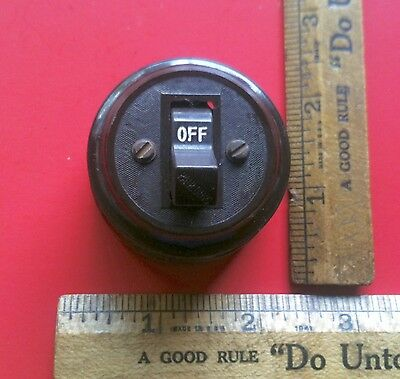 Antique Early 1900's On Off Electric Switch Paulding Co Brown Porcelain Base
