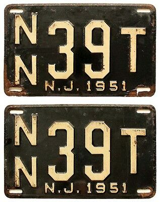 New Jersey 1951 License Plate Pair, NN 39T, Elizabeth NJ, Union County