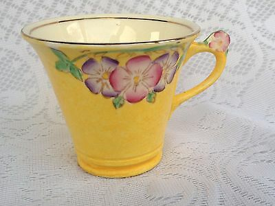 James Kent Fenton Yellow  With Purple/pink Flowers Cup  #1120 Bone China (436)
