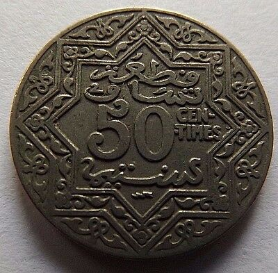 1924 Morocco 50 Centimes! 1 Year Type Coin! Very High Grade! Made Of Nickel!