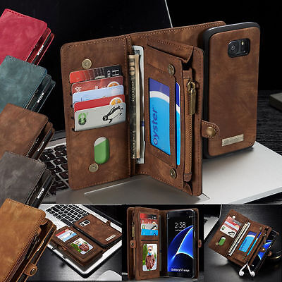 Luxury Genuine Soft Leather Magnetic Wallet Case Flip Cover Samsung S7 & Edge