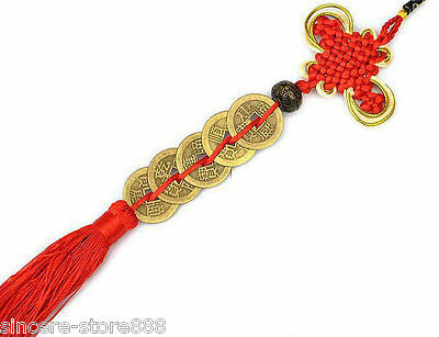 Feng Shui Lucky Five Emperors Coins Red Tassel For Fortune pendant