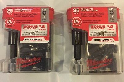 MILWAUKEE 25pc 48-32-5009 25pk Shockwave #2 Drywall Bits, Magnetic Bit (2 Pack)