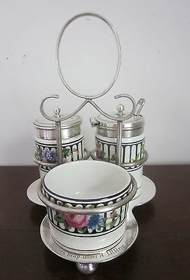 5 pc vintage 1920s A E GRAY CRUET SET metal stand, salt, pepper, mustard, spoon