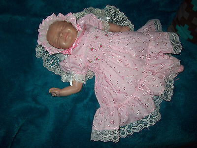 Reborn dolls clothes  PINK BRODERIE ANGLAISE DRESS SET 18-19 INCH