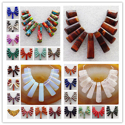 11pcs Mixed Gemstone Pendant Stick Beads Set For Necklace Jewelry Design U352
