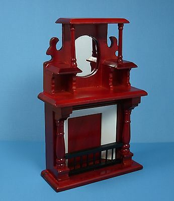 Dollhouse Miniature Victorian Mohagany Fireplace Doll House Furniture