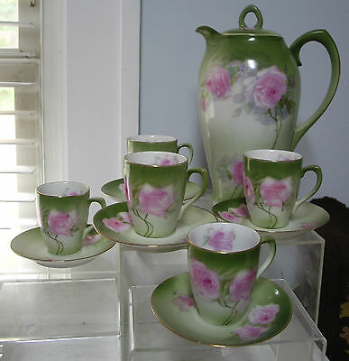 "11pc Set VTG Z.S.&CO Bavaria Coffee/ Chocolate Pot 11"", Cups & Saucers  Roses"