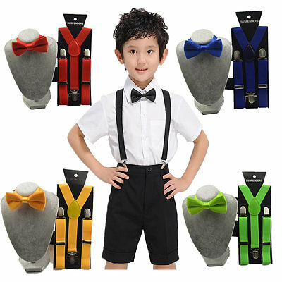 Kids Suspender Bow Tie Matching Colors Baby Toddler Boys Girls Accessory