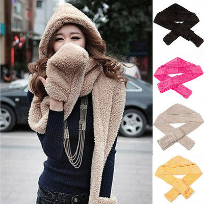 Outdoor Women 3in1 Winter Warm Plush Soft Hat Hooded Scarf Scarves Gloves Set