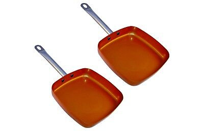 Copper square Pan Non-Stick 9.5 inch Pack of 2 Induction Base, Dishwasher safe