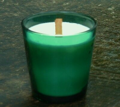 40hr FREESIA LAVENDER & LIMES with SEA MIST Soy WOOD WICK JAR CANDLE Green Glass