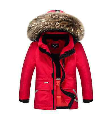 New Boys Kids 80% Warm Duck Down Jacket Thick Real Fur Collar Hooded Parkas Coat